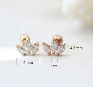 gold crown cartilage earring Tragus piercing Mini Tiara cartilage piercing Helix Conch Daith piercing Crown earring