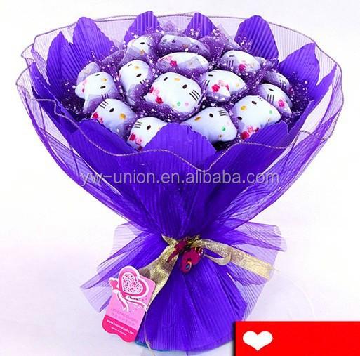 hochzeit s igkeiten strau spielzeug pl sch lila valentine bouquet geschenke blumenstrau. Black Bedroom Furniture Sets. Home Design Ideas