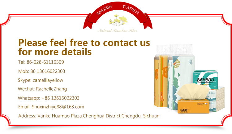 Eco-friendly Brand Name Cheap Sanitary Higenico Virgin Bamboo Paper Facial Tissue