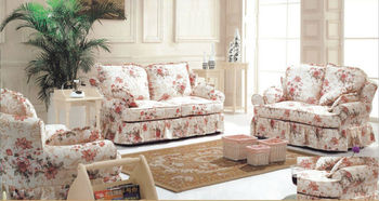 2014 Simple Design Pink Flower Fabric Sofa Set Was Made By Imported Rubber  Wood+print