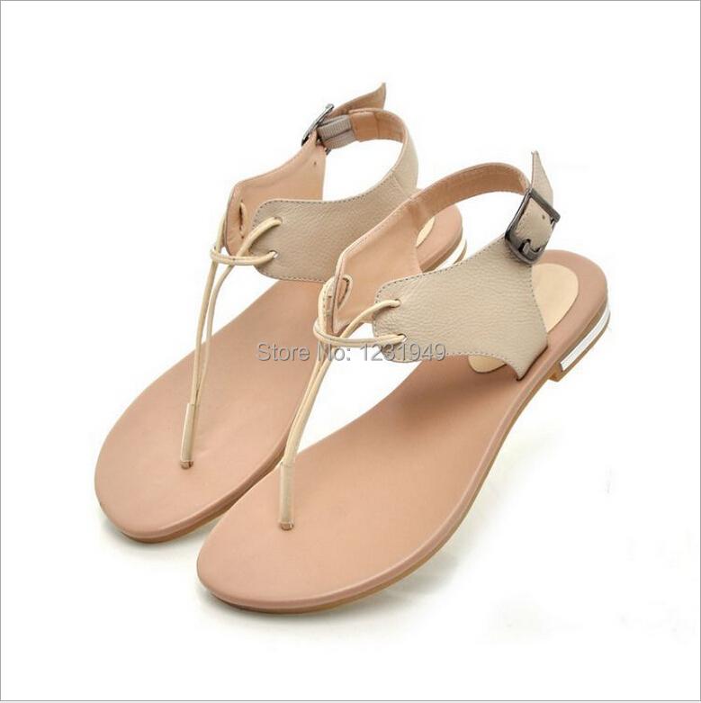 b8fb552ac4d51 women genuine leather pinch flat thong sandals female personality high-top  flat heel thong sandals sub word