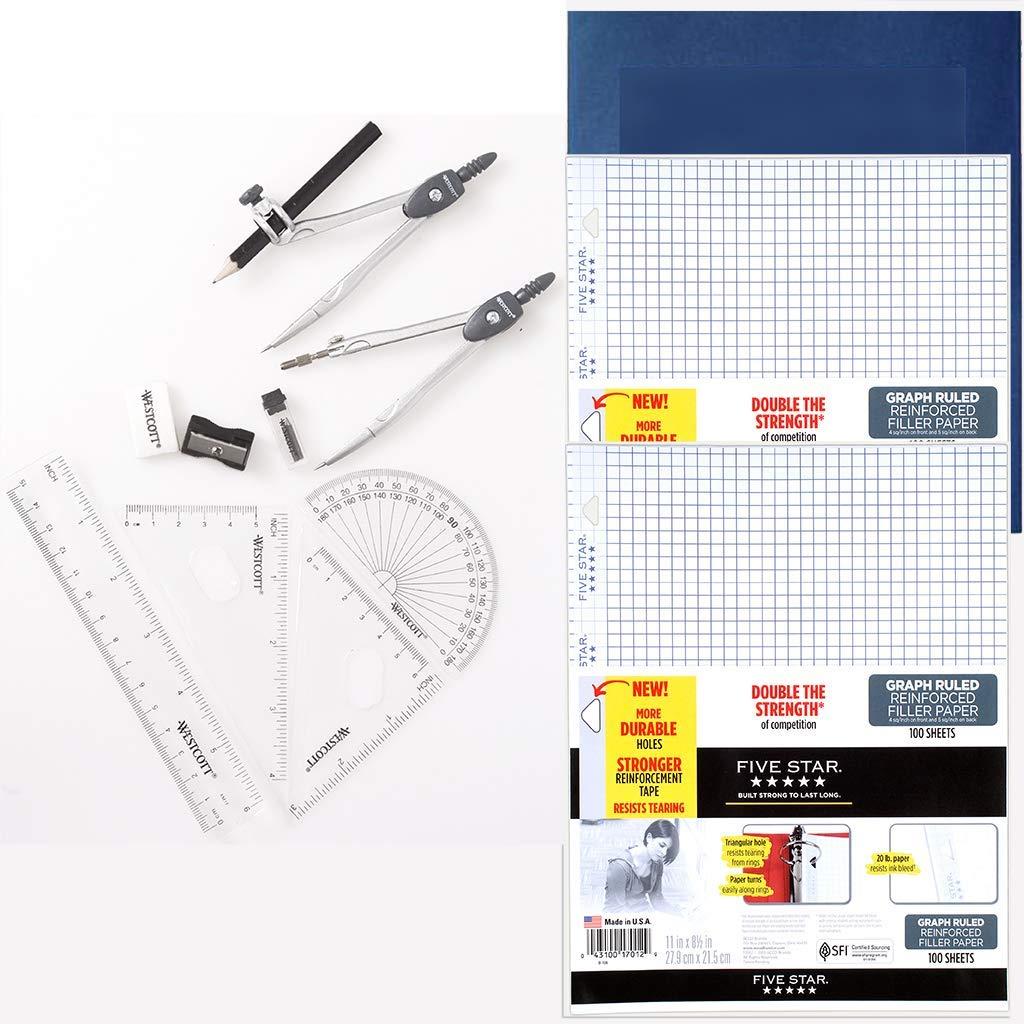 School Supplies Bundle- Graph Filler Paper Loose Leaf Binder Paper, Math Set and Bonus 5 Pk-2 Pocket Presentation Folder