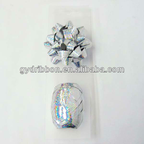 New Ribbon Items:Silver Glitter Metallic Factory High Quality Beautiful Fasional Ribbon Bows For Decoration