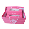 set pink cupcake box with clear window and paper bag