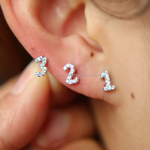 925 sterling silver jewelry wholesale mini cute cz numbers multiple piercing earring
