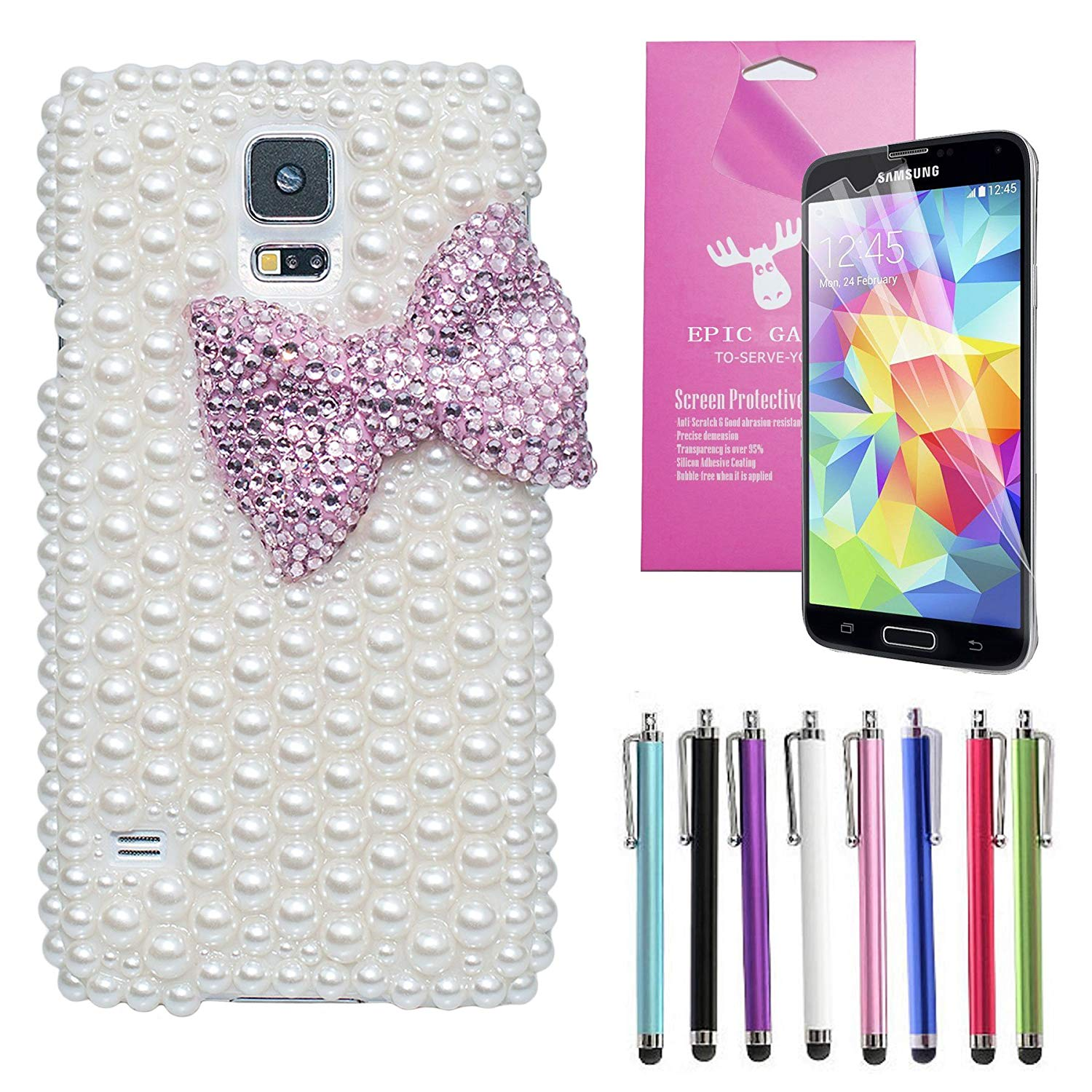EpicGadget(TM) Luxury Handmade 3D Bling White Pearl Pink Ribbon Bow Knot Case Cover For Samsung Galaxy S5 i9600 + Screen Protector + 1 Stylus (Random Color) (US Seller!!) (Pink Pearl Bow Knot Case)