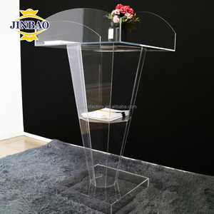 JINBAO Commercial Lucite Acrylic Church Lectern Glass Pulpit School Podium