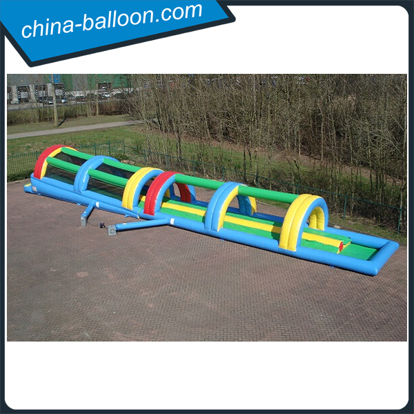 Double lanes slip inflatable long slide with ramp