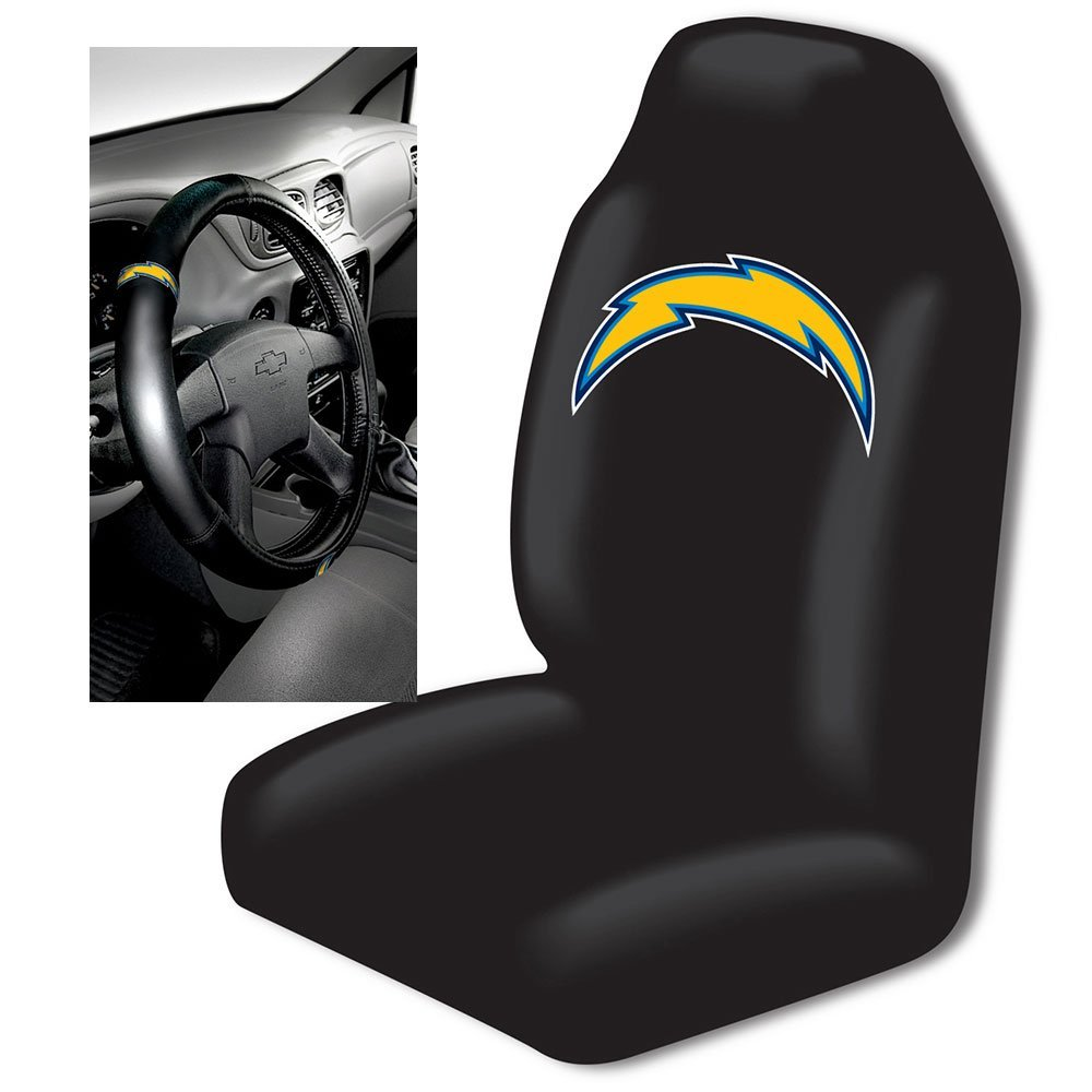 Northwest NOR-1NFL111000079RET San Diego Chargers NFL Car Seat Cover & Steering Wheel Cover Set