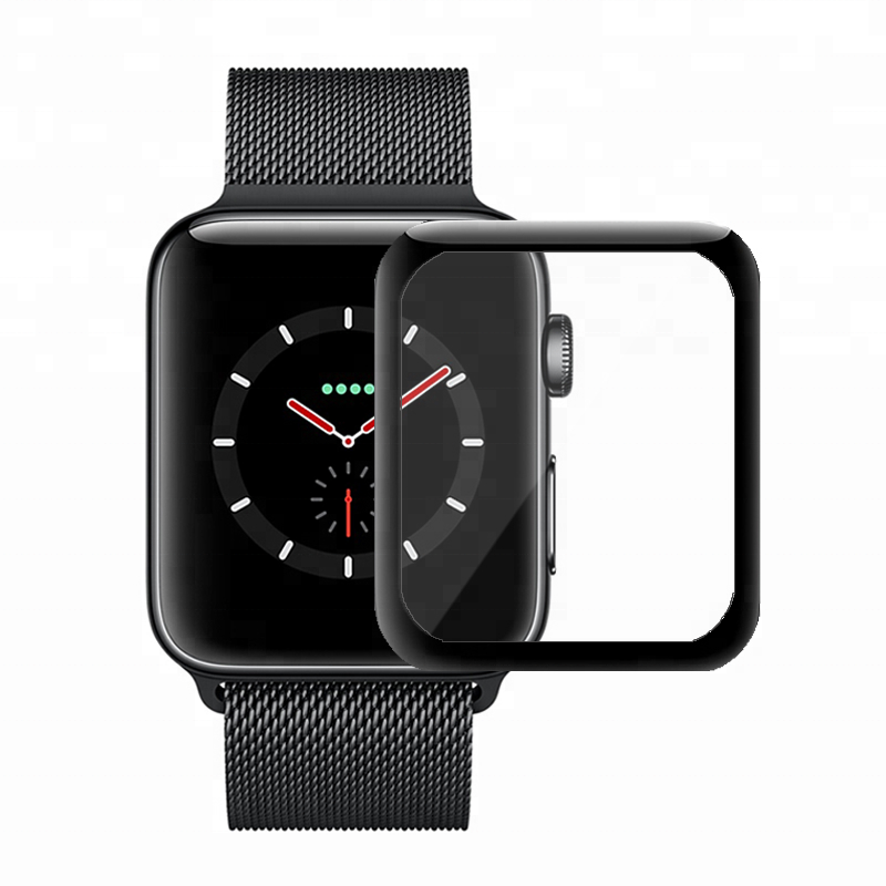 High Quality 3D Full Cover Curved Edge Tempered Glass Screen Protector For Apple Watch 38MM 42MM, Black