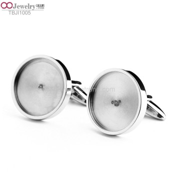 shiny polished 14mm circle blank cufflink for inlay