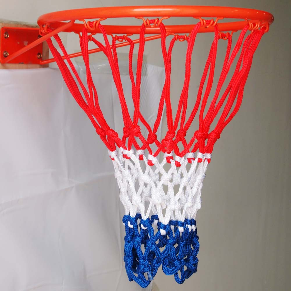 hand knitting standard 12 loops basketball net with 3 colors