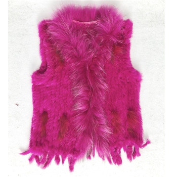 Real Fur Waistcoat Lady's Knitted Rabbit Fur Vest Winter Warm Women Cheap Real Rabbit Fur Vest