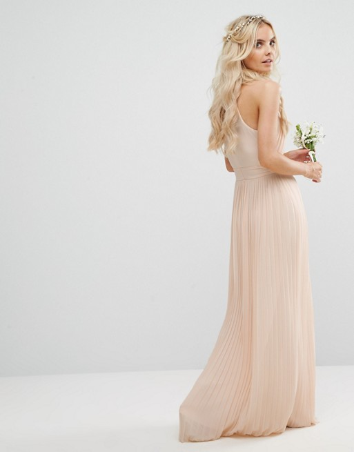 2018 Petite Wedding Pleated Maxi Dress Bridal with Split Hem and Zip-back Fastening