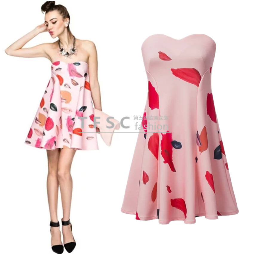 Today's new 2015 star with pink paragraph Bra dress sexy lipstick A fashion party dress was thin lovely short dress
