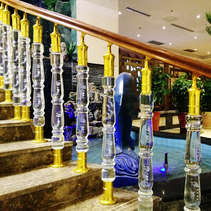 DILU Customized  Crystal Clear Stair Handrail Railings Glass Pillars Stairs Acrylic Baluster Handrail