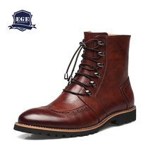New Arrival Fashion Bullock shoes,Handmade super warm Genuine leather winter men boots,Casual British style Snow boots for men