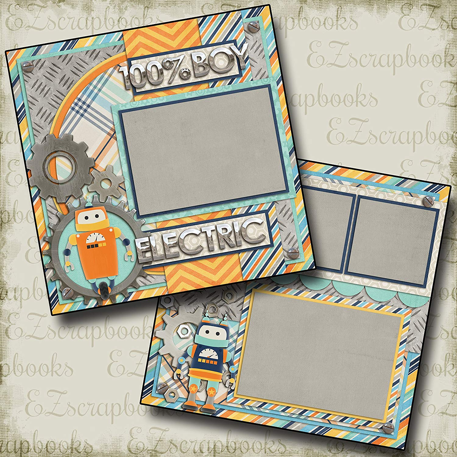 ELECTRIC - Premade Scrapbook Pages - EZ Layout 323