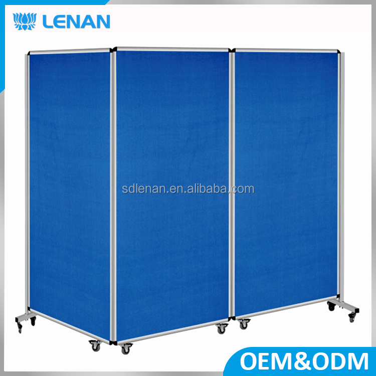 Business or school teaching used metal frame blue pin board / notice board material with stand