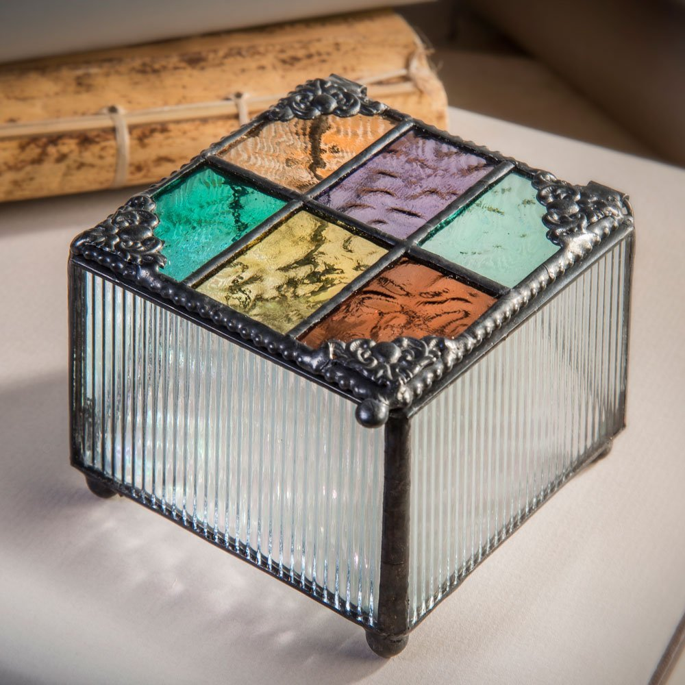 Get Quotations · J Devlin Box 815 Pastel Multi Colored Stained Glass Jewelry Keepsake Box Vanity 3\