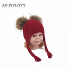 Hot Fashion Winter Custom Double Fur Ball Best Price Beanie Children Knitted Hat winter hat knitted beanie