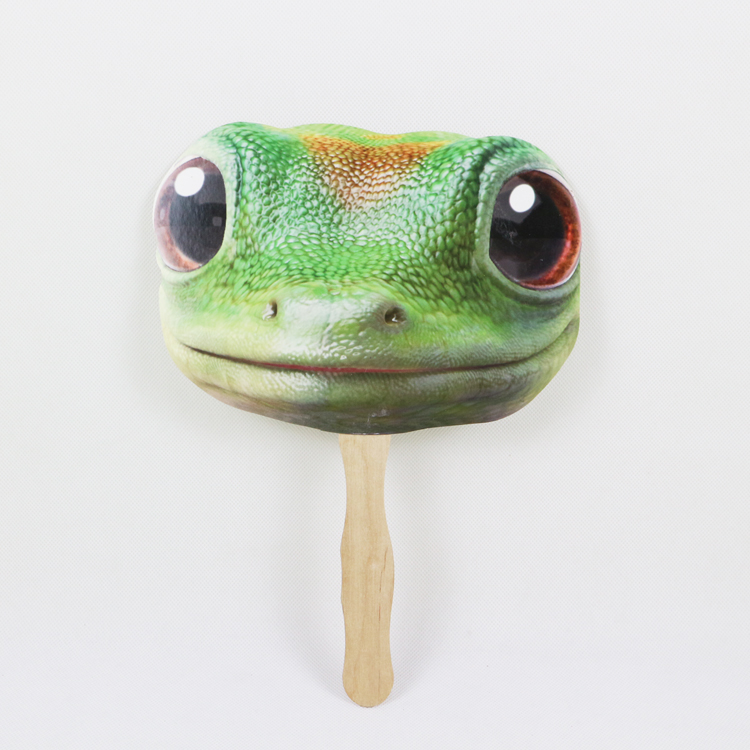 frog animal print hand fan	with glossy lamination
