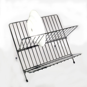 Metal Steel 2-tier Non-assemble Folding Dish Drainer Bowl Plate Cup Drying Rack Holder for Kitchen Utensils Storage Organizer