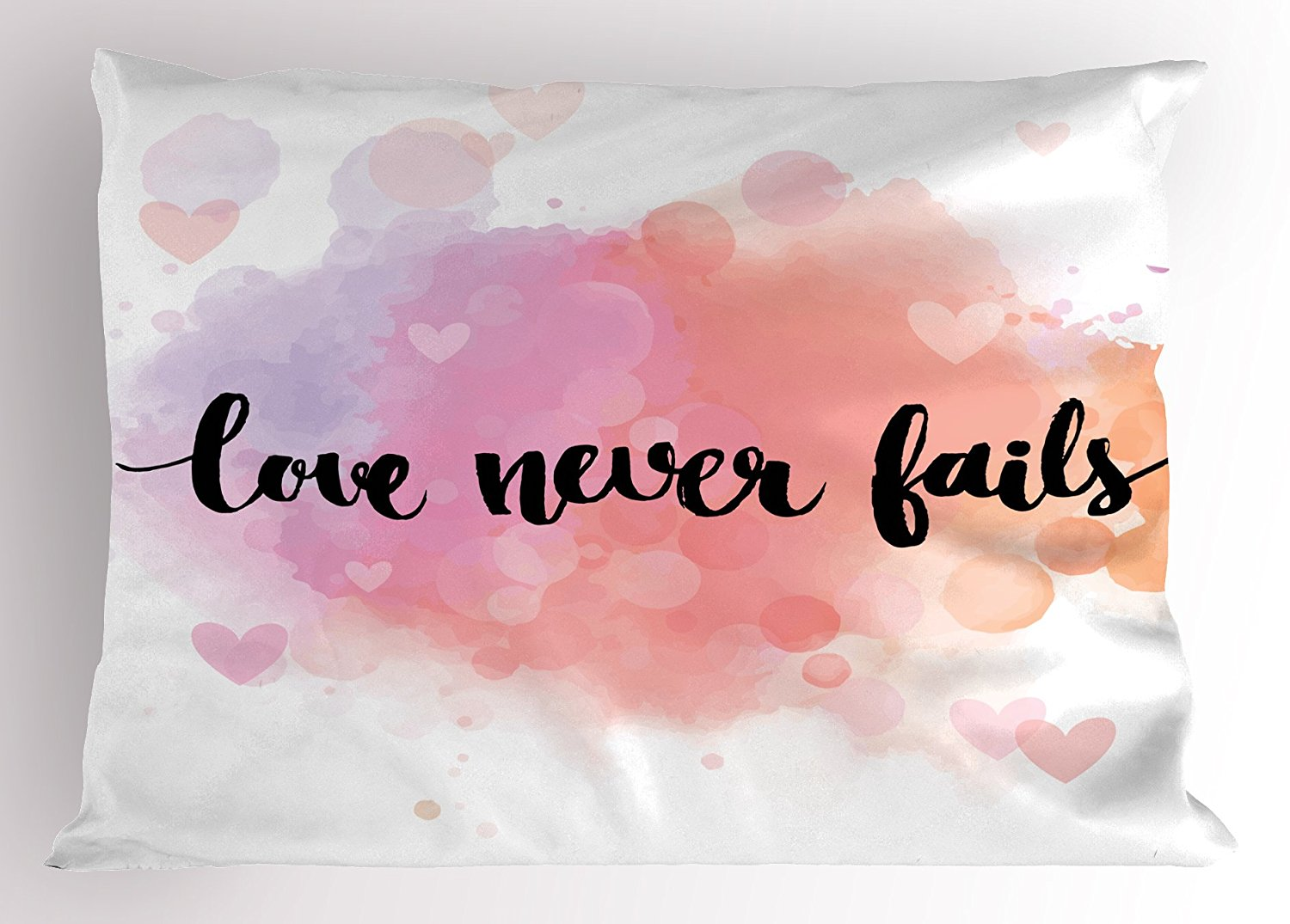 Ambesonne Quote Pillow Sham, Romantic Phrase About Love and Friendship Love Never Fails Bokeh Effect Background, Decorative Standard King Size Printed Pillowcase, 36 X 20 Inches, Multicolor