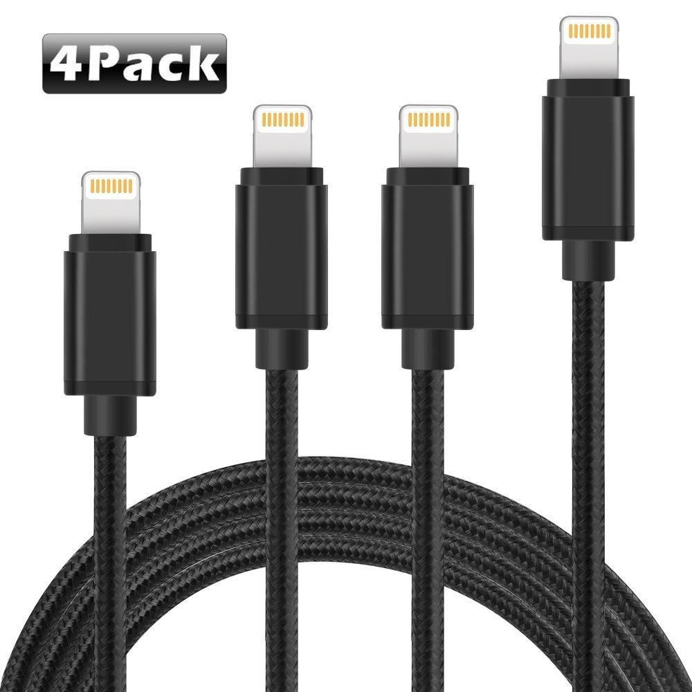 [4Pack] Lightning Cable, ADDAO [3FT 6FT 6FT 10FT] Charge Cable, Nylon Braided iPhone Lightning Cable to USB Charging and Syncing Cord Apple Charging for iPhone, iPad, iPod