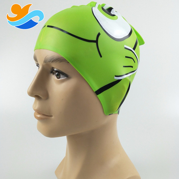 Children Striped fish printing funny silicone swimming caps