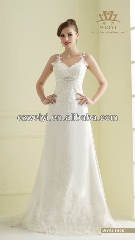 WYBL1420 A-line Elegance Lace Applique Wedding dress 2014