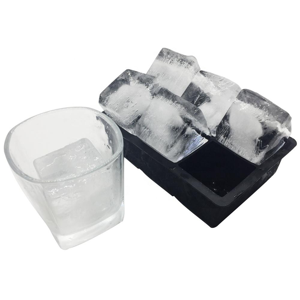 Alibaba.com / Amazon Hot Sale Easy Release 6 Cavity 2 inch Silicon Ice Cube Mold