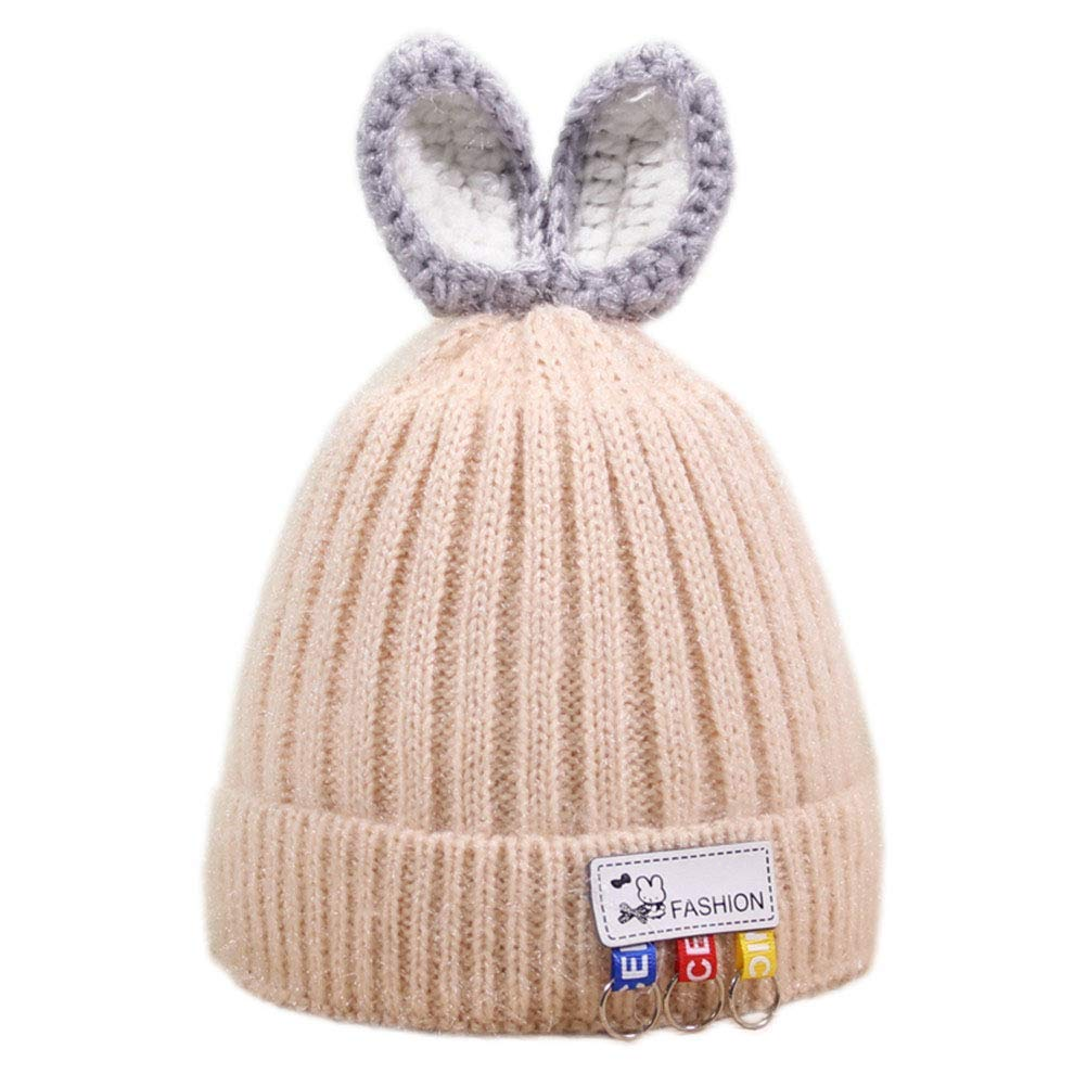 51a1713897d Get Quotations · Mvchif Baby Hat Knitted Wool Beanie Warm Fleece Cap Rabbit  Ears for Infant Winter Outdoor