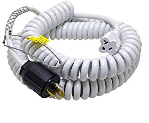 Conntek 70046-L530 Up to 15-Feet Heavy Duty 12/3 Coiled Spring Cord 30-Amp 125V L5-30 Plug with Drop Grip to U.S 15/20-Amp Female Connector by Conntek