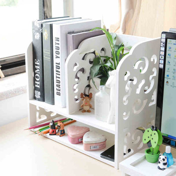 DIY Pattern Carved WPC Desktop Bookshelf
