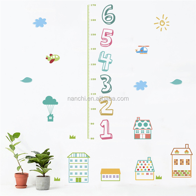 Cartoon numbers Height Wall Stickers children room decorative living room kids height measure wall sticker