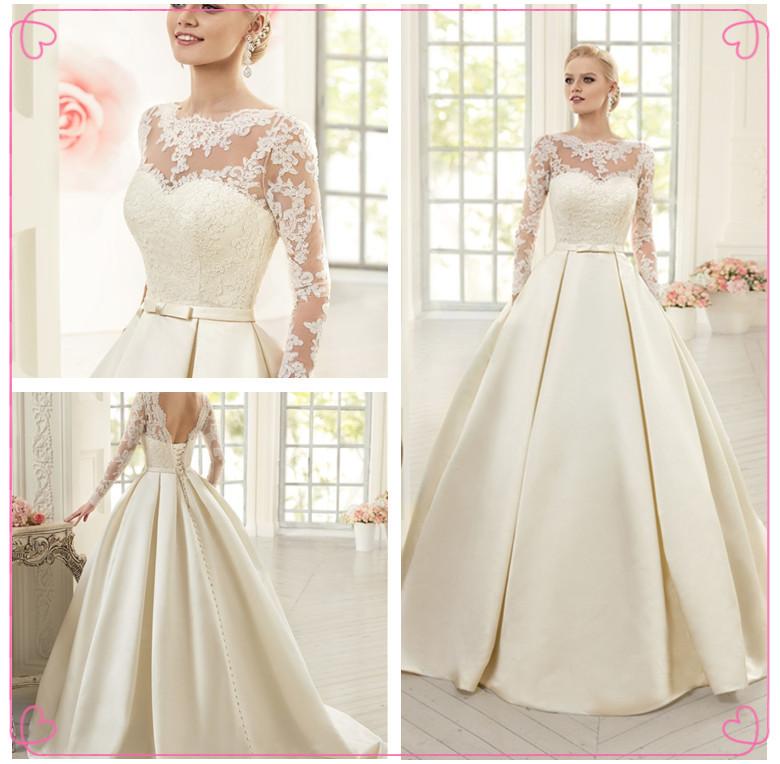 Elegant Simple Long Sleeve Wedding Dresses With Lace 2015: Popular Simple Long Sleeve Wedding Dresses-Buy Cheap