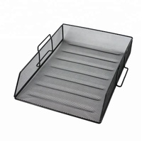 Office Supplyblack Metal Wire Mesh stackable file tray for paper
