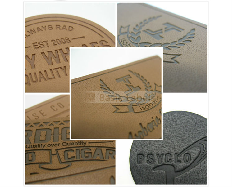 Good quality custom leather patch logo, custom metal embossed jeans leather label for clothing