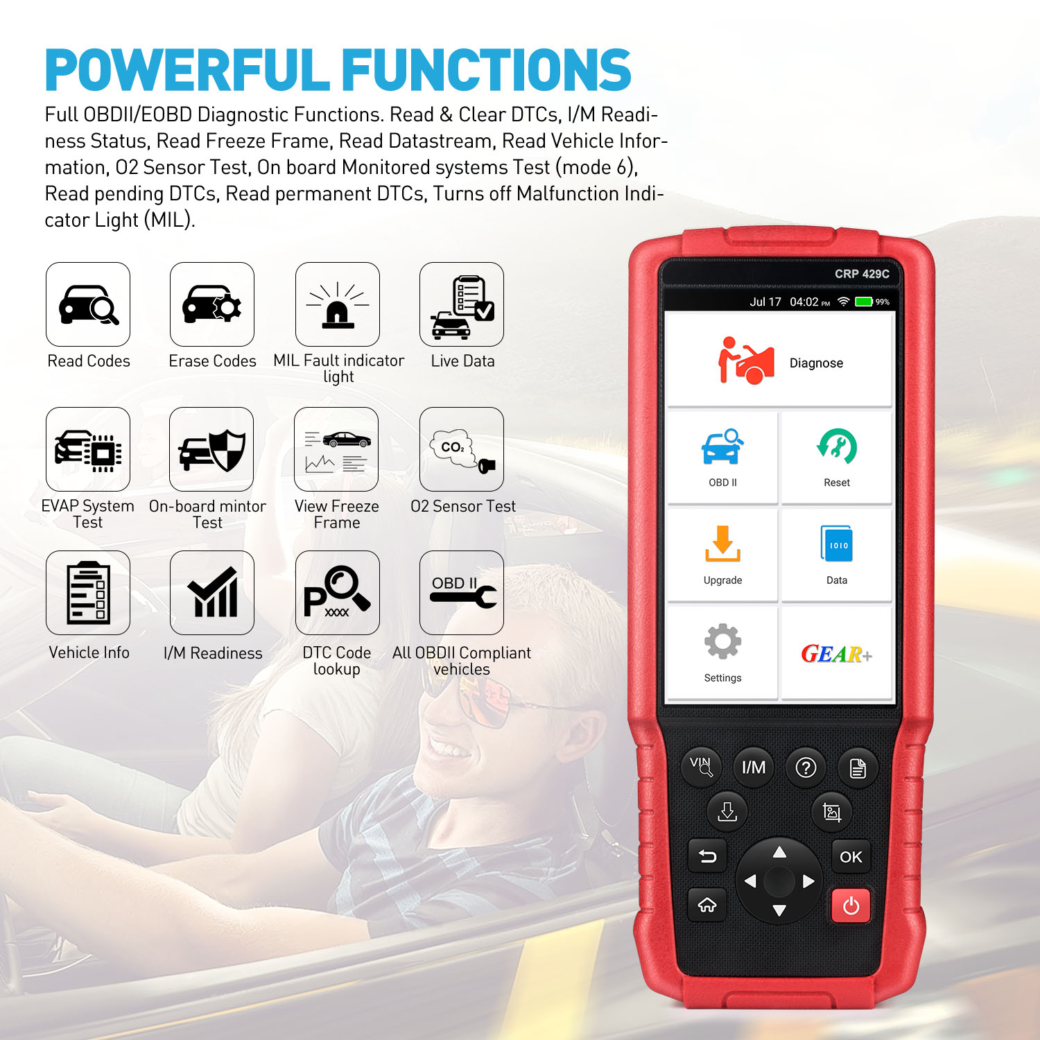 LAUNCH CRP429C OBD2 Diagnostic Scan Tool 4 Systems Diagnoses Service Functions of Oil Reset,EPB,BMS,SAS,DPF,Injector Coding,IMMO