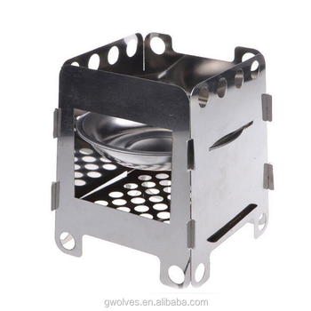 Camping Stove Stainless Steel Folding Wood Stove Alcohol Burner Pocket Stove For Outdoor