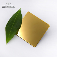304 Golden Mirror Finish Titanium Gold Color Coated Stainless Steel Sheet