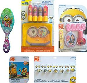Minions Cosmetic Children's Pretend Play Gift Set Includes Minions Fruity Flavors Lip Balm Set,Nail Kit,Days of the Week Sticker Earrings and Rings Set, and Minions Mini Puzzle 5 Inches X 7 Inches