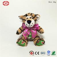 Xmas kids gift plush Tiger soft with big ribbon CE toy