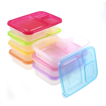 Eco Friendly Food Grade Plastic 3 Compartment Reusable Food Storage
