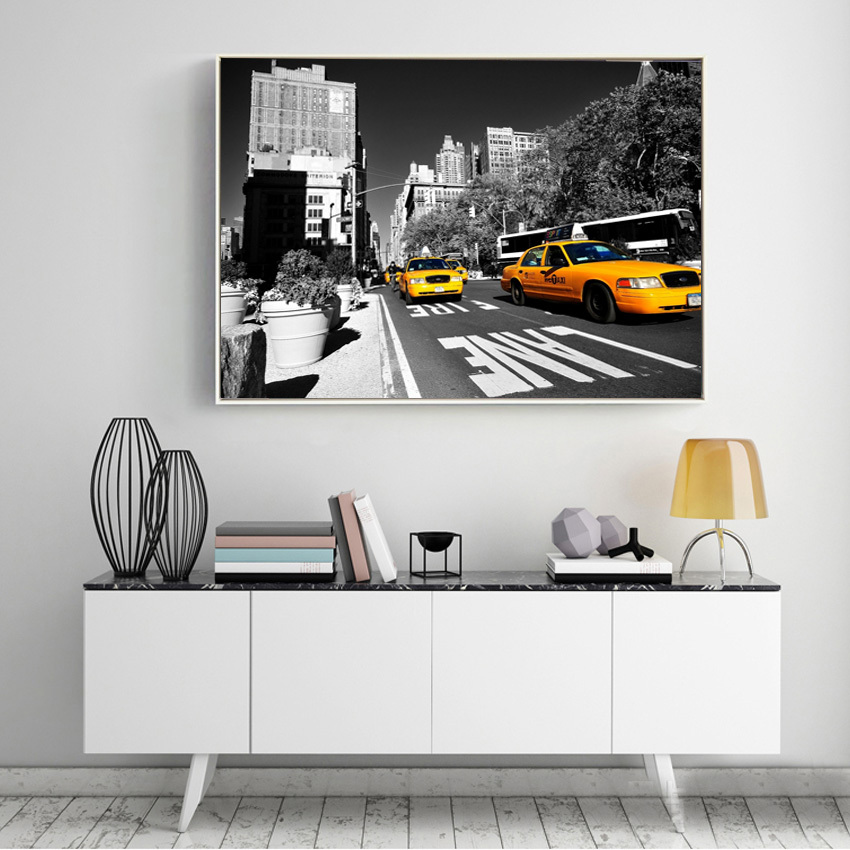 New York City Picture Canvas Painting Modern Wall Art: Aliexpress.com : Buy Modern Usa New York City Taxi Yellow