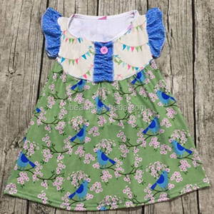 2017 Factory provide best price baby clothes 3-5 year old girl dress print colorful flags ruffle sleeve maxi dress for baby