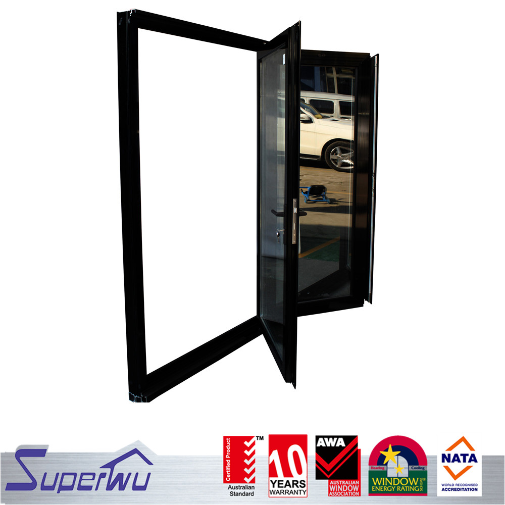 Superwu manufacturer cheap price comercial aluminum glass folding door mechanism with AS 2047