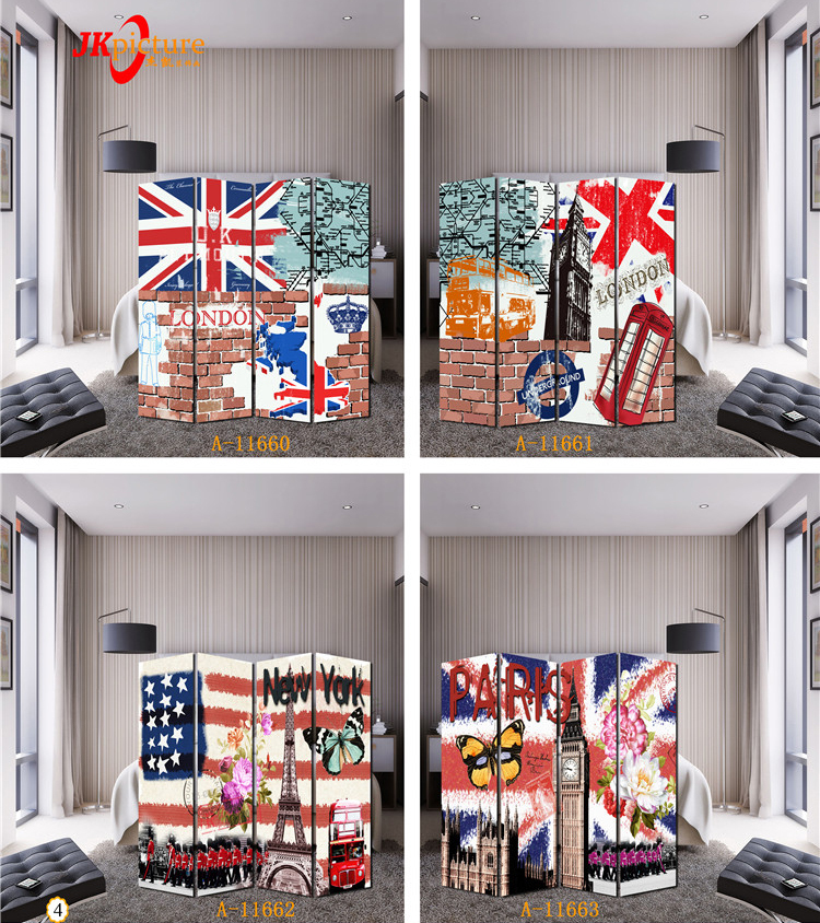 American flag car flower bird various pattern screen chinese waterfall Interior room divider