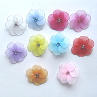 2inch Mini silk flowers,nylon handmade artificial flower accessory with metal clip